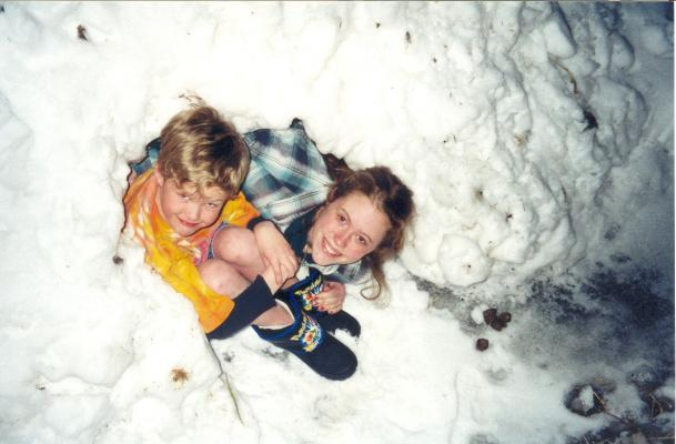 Joe and Katie in the snow fort