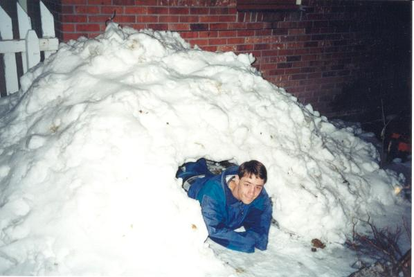 David in the snow fort