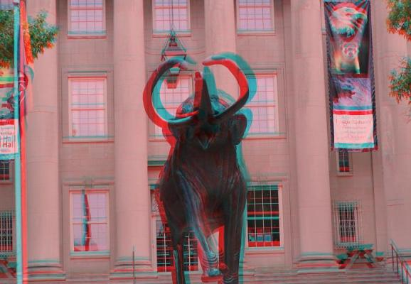 Use your 3D glasses to see the mammoth in front of Morrill Hall